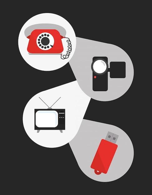 Technologie iconen ontwerp Premium Vector