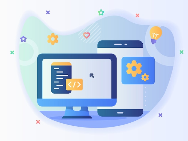 Technologie ingenieur app website programma-ontwikkeling software concept met code en computer met moderne pictogramstijl - vector Premium Vector