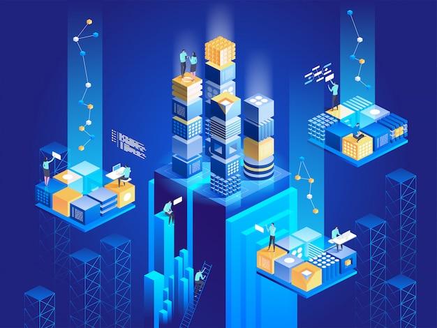 Technologie isometrisch concept. digitale blokkenverbinding met elkaar. Premium Vector