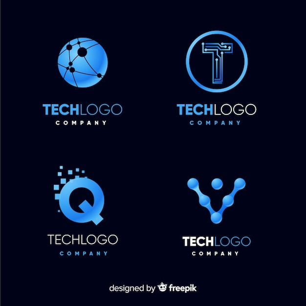 Technologie logo collectie Gratis Vector