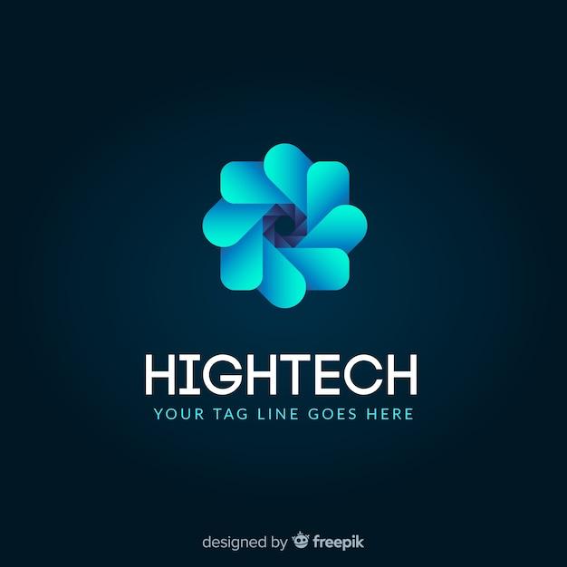 Technologie logo sjabloon met abstracte vormen Gratis Vector
