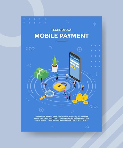 Technologie mobiele betaling mensen staan in de buurt van hangslot geld smartphone voor sjabloon van banner Gratis Vector