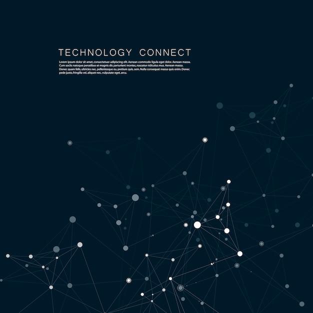 Technologie netwerk verbinden met punten en lijnen. wetenschap creatieve achtergrond Premium Vector