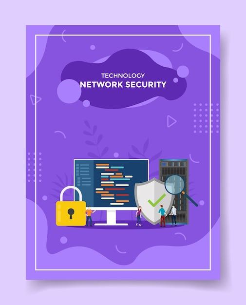 Technologie netwerkbeveiliging mensen rond grote computer schild bescherming netwerk hangslot Premium Vector