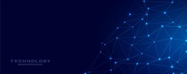 Technologie netwerkverbinding blauwe mesh banner Gratis Vector