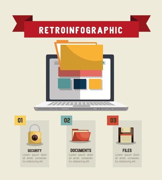 Technologie retroinfografisch ontwerp Premium Vector