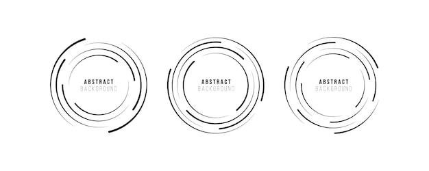Technologie rond logo. cirkelvormige radiale snelheidslijnen voor strips, spiraal. explosie achtergrond. abstracte cirkel geometrische vorm. ontwerpelement. plat ontwerp. Premium Vector