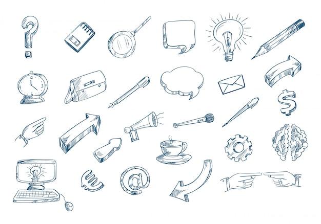 Technologie schets pictogrammenset doodle Gratis Vector