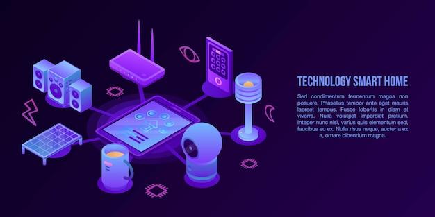 Technologie slimme huis concept banner, isometrische stijl Premium Vector