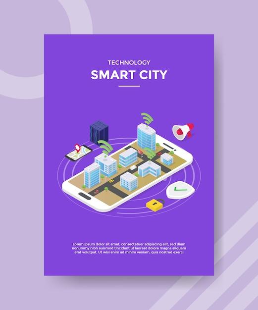 Technologie slimme stad flyer-sjabloon Gratis Vector