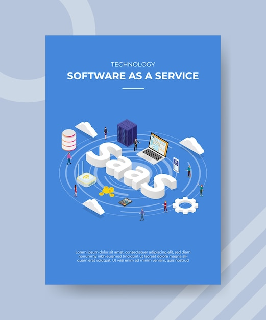 Technologie software als een service mensen staan laptop server router cloud saas-tekst voor sjabloon van banner-flyer Premium Vector