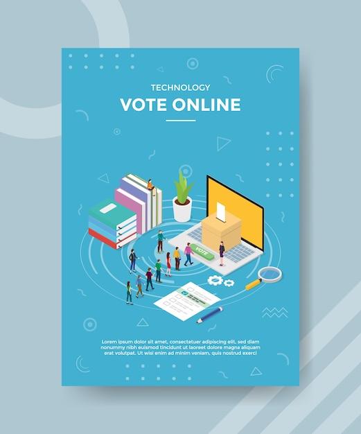 Technologie stemmen mensen die in de rij wachten stemmen in laptop online mensen voor sjabloon van banner en flyer Premium Vector