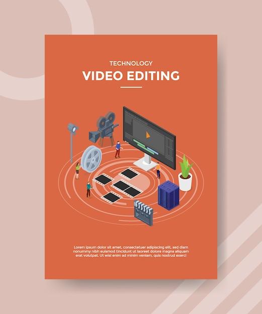 Technologie videobewerking flyer-sjabloon Gratis Vector