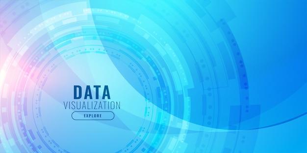 Technologie visualisatie futuristisch blauw ontwerp als achtergrond Gratis Vector