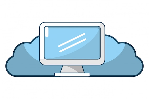 Technologie web wolk cartoon Premium Vector