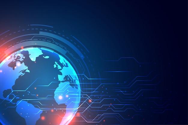 Technologieachtergrond met aarde en kringsdiagram Gratis Vector