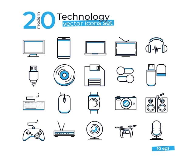 Technologieobjecten pictogrammen die voor ontwerp online opslag worden geplaatst. Gratis Vector