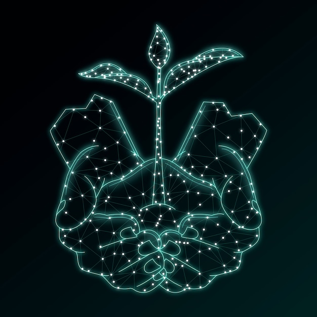 Technologisch ecologieconcept in blauw Gratis Vector