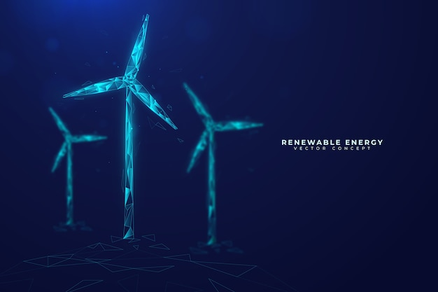 Technologisch ecologieconcept met windmolens Gratis Vector