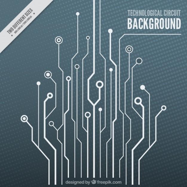 Technologische achtergrond met een witte circuit Gratis Vector