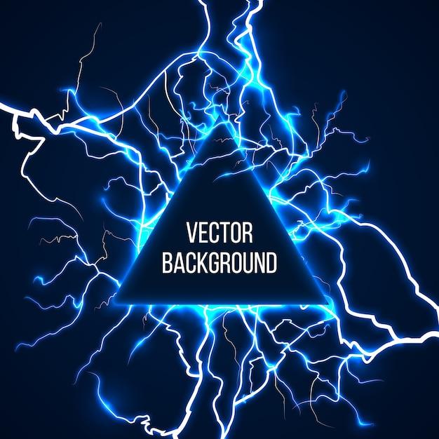 Technologische en wetenschappelijke achtergrond met bliksemschichten. energielicht, elektrische flits, schok elektriciteit storm, machtslading, vectorillustratie Gratis Vector