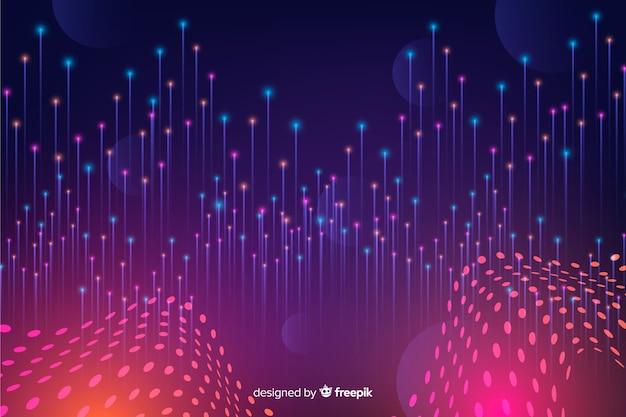 Technologische gradiënt vallende deeltjes achtergrond Gratis Vector