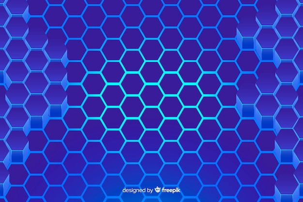 Technologische honingraat blauwe achtergrond Gratis Vector