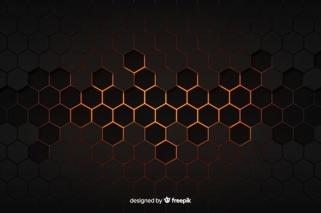 Technologische honingraat zwarte en gouden achtergrond Gratis Vector