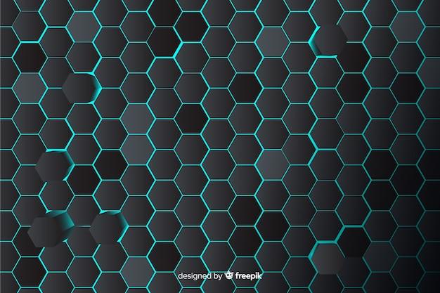 Technologische honingraatachtergrond in blauw Gratis Vector