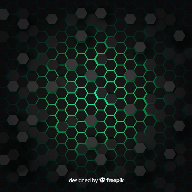Technologische honingraatachtergrond in groen Gratis Vector