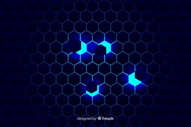 Technologische honingraatachtergrond op blauwe schaduwen Gratis Vector