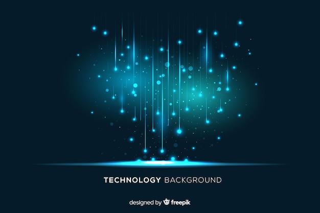Technologische lichte deeltjes die achtergrond vallen Gratis Vector