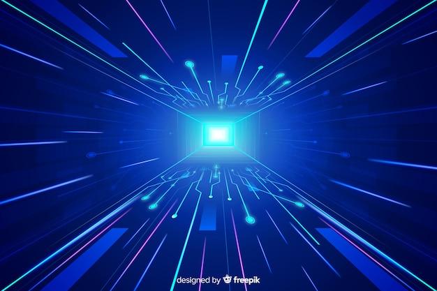 Technologische lichte tunnel futuristische achtergrond Gratis Vector
