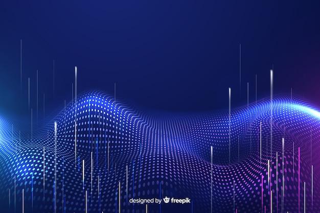 Technologische vallende deeltjes donkere achtergrond Gratis Vector