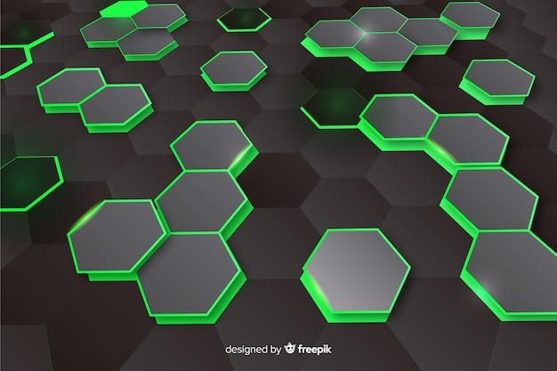 Technologycal zeshoekige perspectief achtergrond Gratis Vector