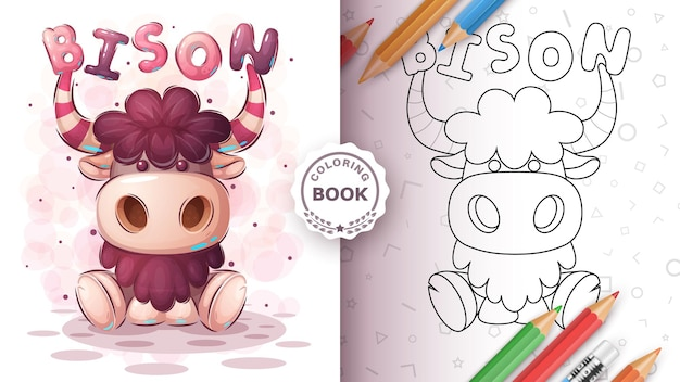 Teddy bizon dier kleurboek Gratis Vector