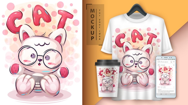 Teddy kitty poster en merchandising Premium Vector