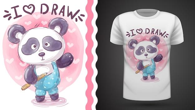 Teddy panda t-shirt sjabloon Premium Vector