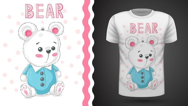 Teddy schattige beer idee voor print t-shirt Premium Vector