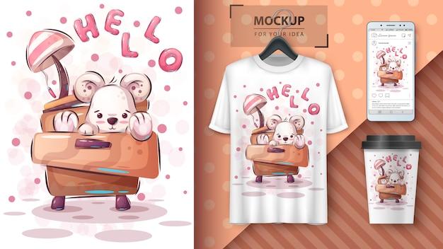 Teddybeer poster en merchandising Premium Vector
