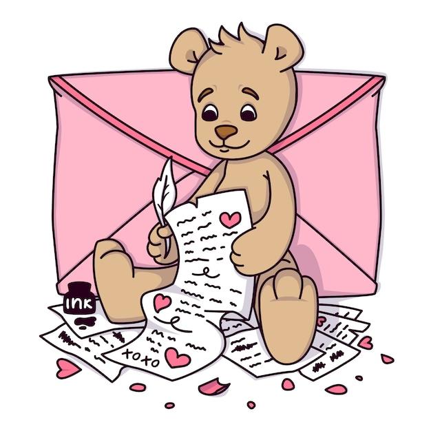 Teddybeer schrijft een liefdesbrief. de groetkaart van de valentijnskaartendag met harten en envelop. afdrukken voor kinderen uitnodigingen, groeten briefkaart. Premium Vector