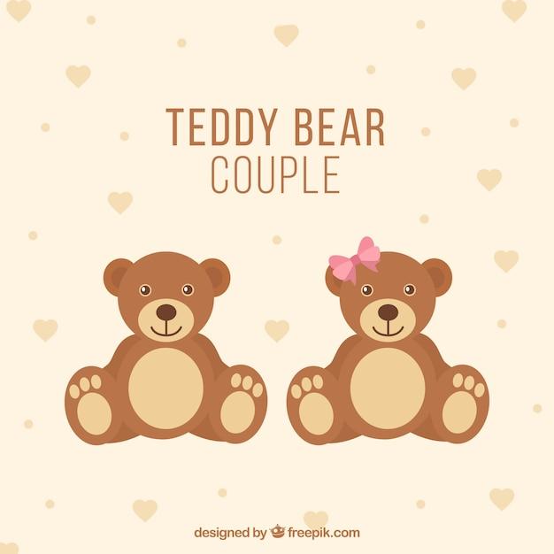 Teddybeerpaar Gratis Vector