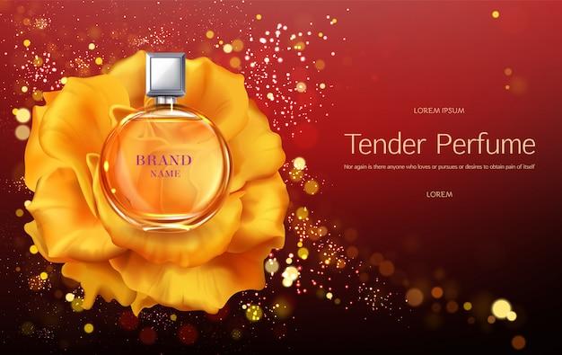 Tedere vrouwenparfum 3d realistisch vector reclamebanner of affichemalplaatje. Gratis Vector