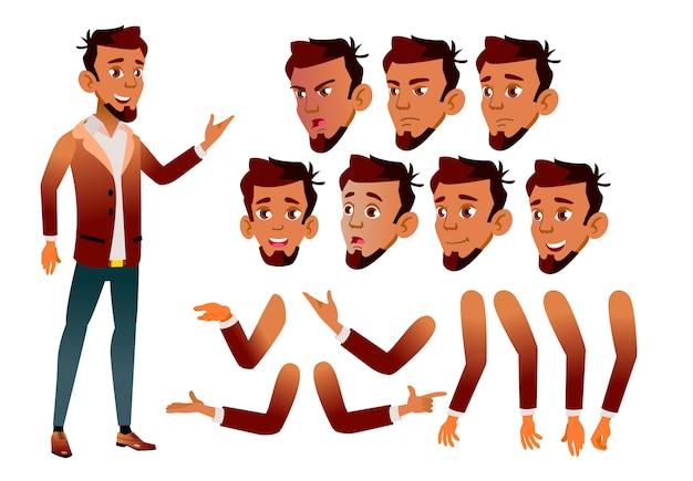 Teen boy karakter. arab. creatie constructor voor animatie. gezichtsemoties, handen. Premium Vector