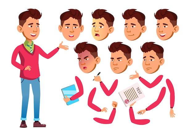 Teen boy karakter. aziatische. creatie constructor voor animatie. gezichtsemoties, handen. Premium Vector