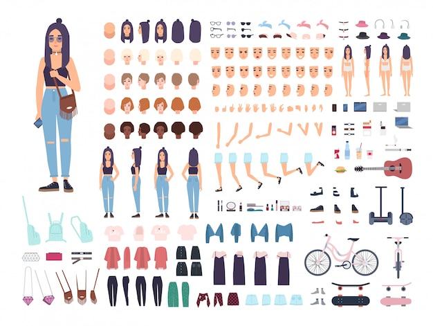 Teenage girl constructor of animatie kit. set vrouwelijke tiener of tiener lichaamsdelen, gezichtsuitdrukkingen, kapsels geïsoleerd. gekleurde vectorillustratie in platte cartoon stijl Premium Vector