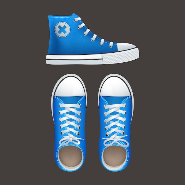 Teenage school jongens en meisjes populaire straat dragen hoge top sneakers chucks gumshoes Gratis Vector