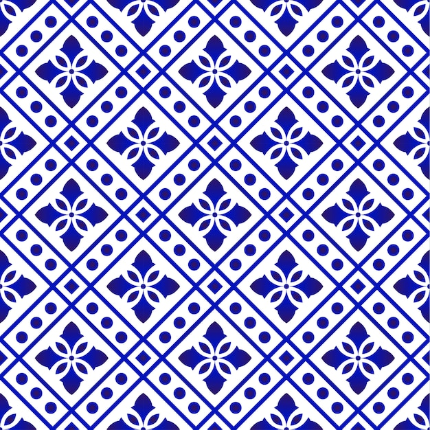 Tegelpatroon blauw en wit Premium Vector