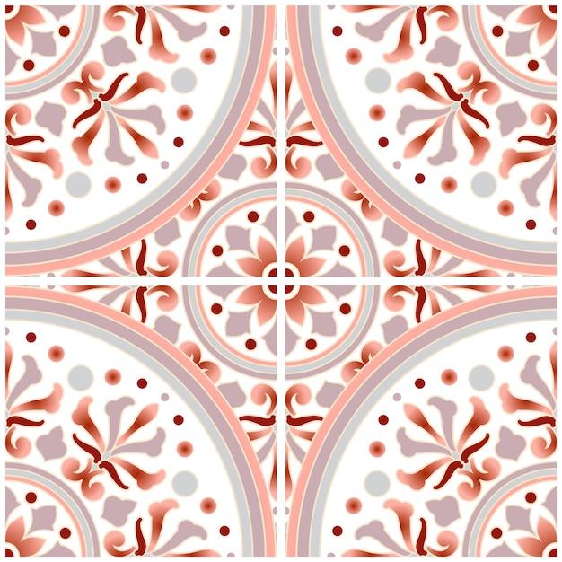 Tegelpatroon met kleurrijke patchwork pastelkleurstijl, abstracte bloemen decoratieve batik voor ontwerp, mooie voorhoofd en grijze mandala, ceramisch behang naadloos decor Premium Vector