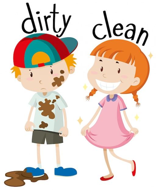 Tegenover adjectieven vies en schoon Gratis Vector